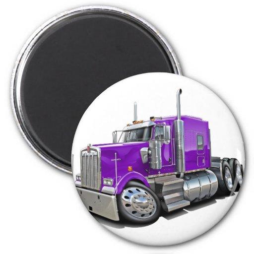 Camión de la púrpura de Kenworth w900 Imán Redondo 5 Cm