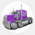 Camión de la púrpura de Kenworth w900 Pegatinas Redondas