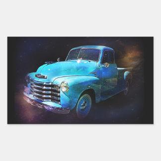 ¡Camión de Omega Camión azul del vintage Etiquetas