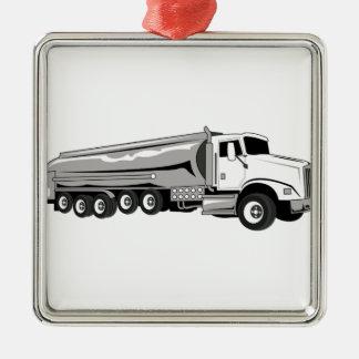 Camión de petrolero adorno navideño cuadrado de metal