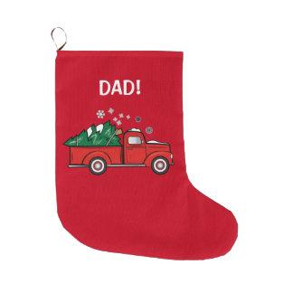 Camión de recogida clásico con el árbol de navidad calcetín de navidad grande