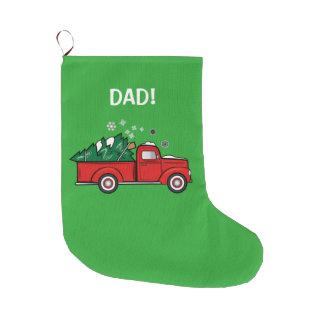 Camión de recogida clásico con el árbol de navidad calcetín navideño grande