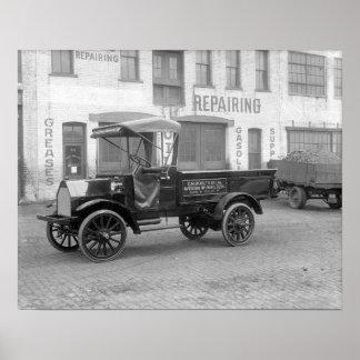 Camión de reparto auto de la fuente, 1915. Foto Póster