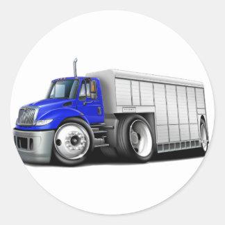 Camión de reparto Azul-Blanco internacional Pegatina Redonda