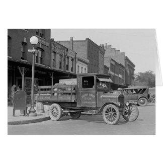 Camión de reparto de las aves de corral, 1926 tarjeta de felicitación