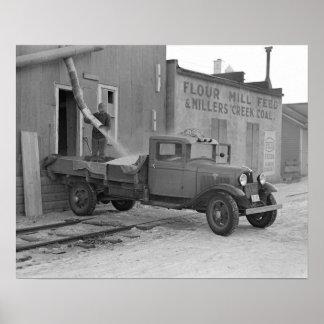 Camión de reparto del grano, 1936. Foto del Póster