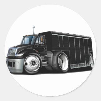Camión de reparto negro internacional pegatina redonda