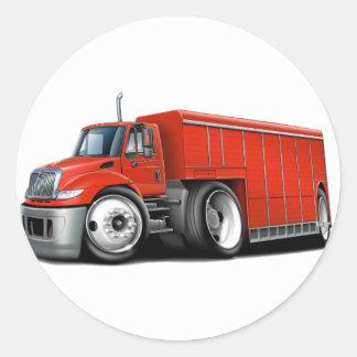 Camión de reparto rojo internacional pegatina redonda