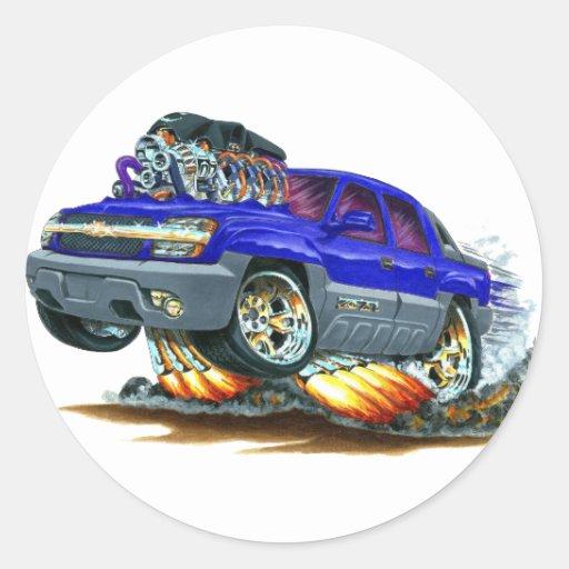 Camión del azul de la avalancha pegatina redonda