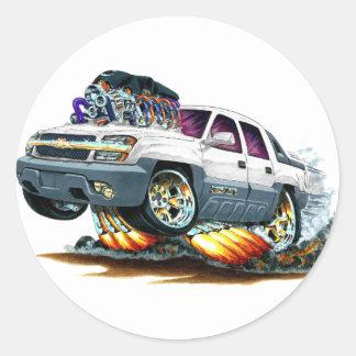 Camión del blanco de la avalancha pegatina redonda