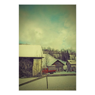camión del bombero de la granja n del invierno póster