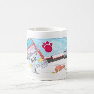 Camión del camión del dibujo animado con el pájaro tazas de café