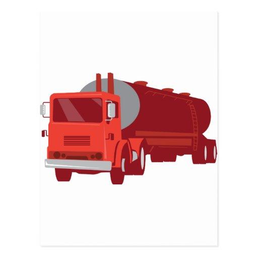 Camión del cemento del petrolero retro postales