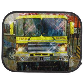 Camión del coche de bomberos, rescate de la emerge alfombrilla de auto