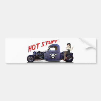 Camión del coche de carreras con un chica pegatina de parachoque