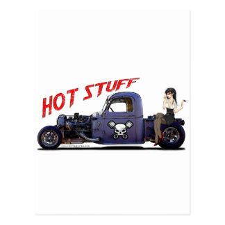Camión del coche de carreras con un chica postales