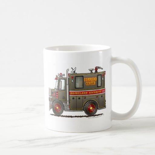 Camión del comando de la seguridad de patria tazas de café