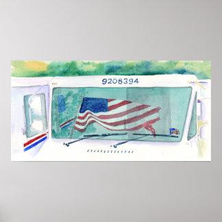 Camión del correo e impresión postales de la bande póster