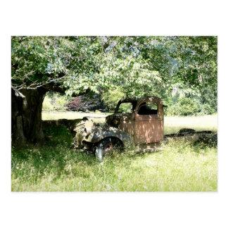 Camión del cubo del moho en el campo (vista latera tarjetas postales