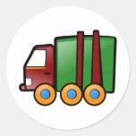 Camión del dibujo animado etiqueta redonda