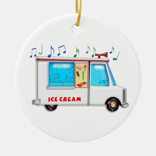 Camión del helado con música ornamento para arbol de navidad