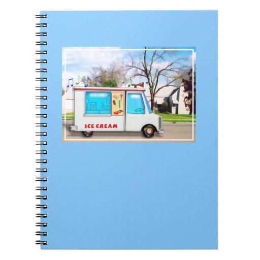 Camión del helado con música en la calle cuadernos