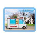 Camión del helado con música en la calle iman de vinilo