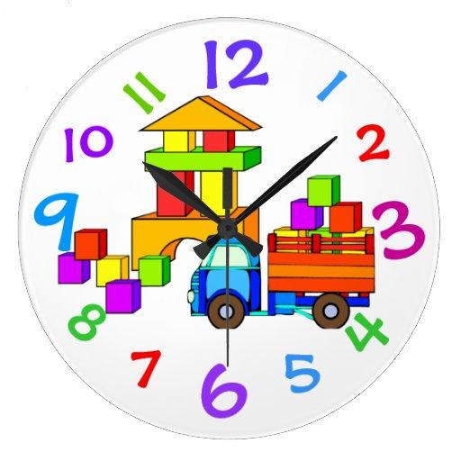 Camión del juguete y reloj de los bloques con núme