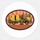 camión del limpiador del barrendero de calle pegatina redonda