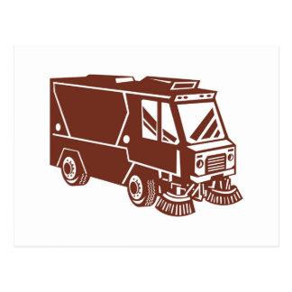 camión del limpiador del barrendero de calle tarjeta postal