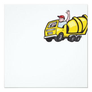 """Camión del mezclador de cemento del conductor del invitación 5.25"""" x 5.25"""""""