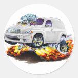 Camión del panel blanco de Chevy HHR Pegatina Redonda