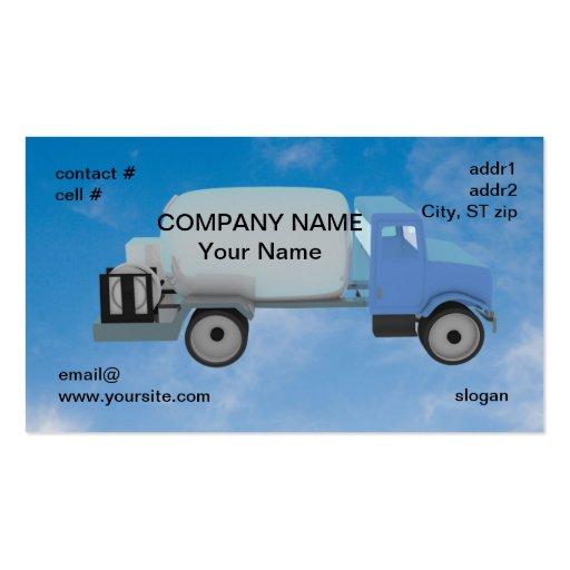 camión del propano en el cielo azul plantilla de tarjeta de visita