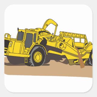 Camión del raspador pegatina cuadrada