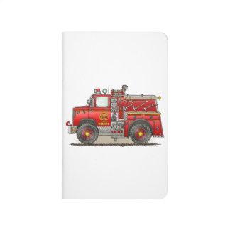 Camión del rescate de la autobomba del fuego cuadernos grapados