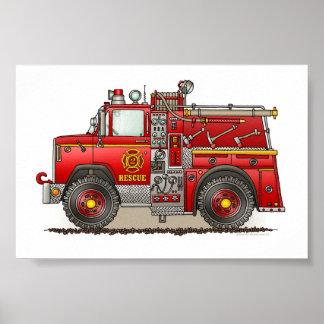 Camión del rescate de la autobomba del fuego póster