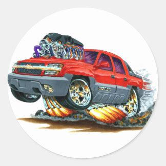 Camión del rojo de la avalancha pegatina redonda