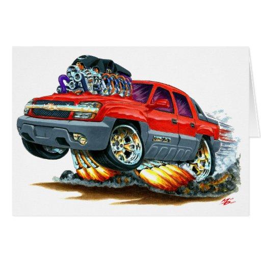 Camión del rojo de la avalancha tarjeta de felicitación