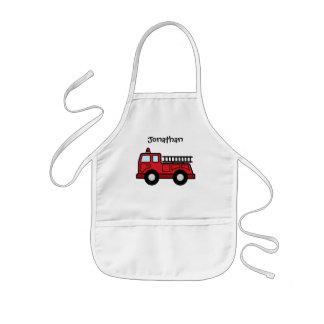 Camión del vehículo de la emergencia del Firetruck Delantal Infantil