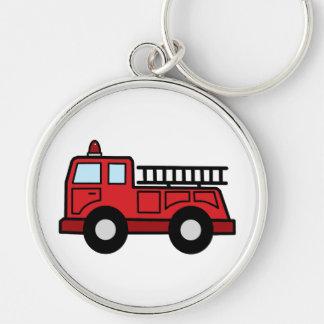 Camión del vehículo de la emergencia del Firetruck Llavero Redondo Plateado