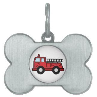 Camión del vehículo de la emergencia del Firetruck Placa De Nombre De Mascota