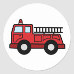 Camión del vehículo de la emergencia del Firetruck Etiqueta Redonda