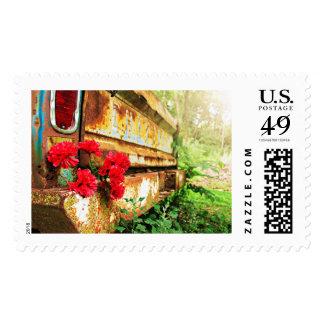 Camión floral y de la granja rústico sello postal