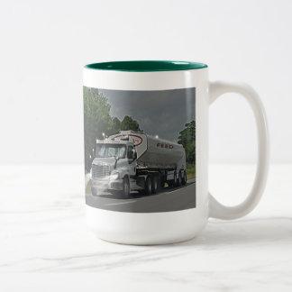 Camión gris de la cisterna de la alimentación del taza de dos tonos