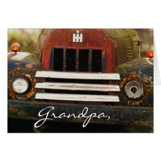 Camión internacional antiguo de la máquina segador tarjeta de felicitación