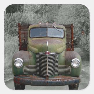 Camión internacional verde viejo calcomania cuadradas personalizada
