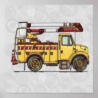 Camión lindo del recogedor de la cereza poster