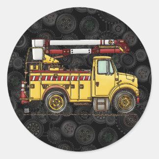 Camión lindo del recogedor de la cereza etiquetas redondas