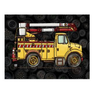 Camión lindo del recogedor de la cereza postal