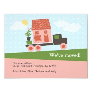 Camión móvil hemos movido la tarjeta invitación 10,8 x 13,9 cm